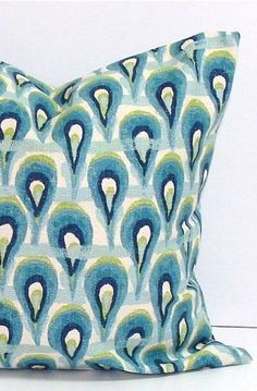 18x18 Inch Decorative Pillow Cove Blue Cushion Cover Ikat Peacock