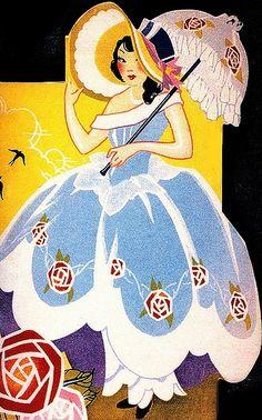 Girl with Parasol ~ Art Deco bridge tally