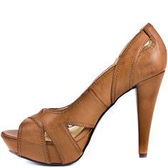 Tall tan peeptoes.   My kind of shoes....love at first sight!