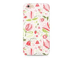 Flowers and Strawberries iPhone 6S, Floral Phone Case, Summer Phone Case, Strawberry Fields Phone Case, iPhone, Samsung Galaxy
