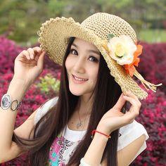 612219798ab6f Moda flores folhas de verão chapéu de palha para as mulheres malha chapéu  Feminino de praia