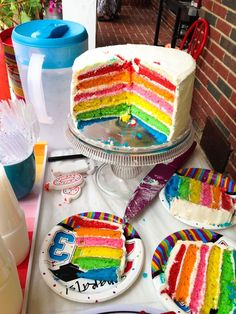 Rainbow cake: 2 boxes white cake mix, follow instructions on box, divide in 6 bowls (1.5 c in each). Add 1 t GEL food coloring to each bowl and bake each in a 9 inch cake pan for approximately 12 minutes.