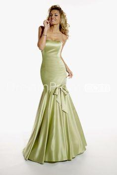 Charming Bowknot Trumpet/Mermaid Strapless Floor-length Bridesmaid Dresses