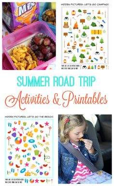 Road trip activities and printables for kids! Activity pages to print, road trip binders, and easy on the go snacks from a family who has has traveled around the United States. Car Trip Activities, Outside Activities, Rainy Day Activities, Summer Activities For Kids, Easy Crafts For Kids, Road Trip Snacks, Road Trips, On The Go Snacks, Summer Snacks
