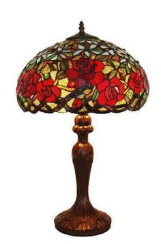 """Tiffany Style 24"""" Red Roses Table Lamp"""