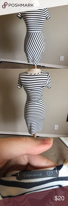 Navy &a White Striped Dress (60) Chic and classy blue and white dress with asymmetrical skirt. Gently worn but no flaws. Tag size small. Bust- 16 inches Waist- 12 inches Length- 37 inches Soprano Dresses Midi