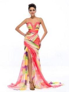 Sexy Split Colorful Chiffon Print Mermaid Long Evening Dress