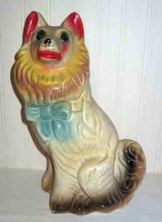 VINTAGE LARGE CHALKWARE CARNIVAL PRIZE COLLIE DOG BANK