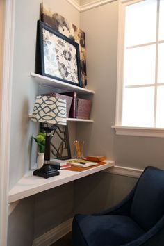 Perfect way to fill an awkward corner - make it into a small workspace and desk!