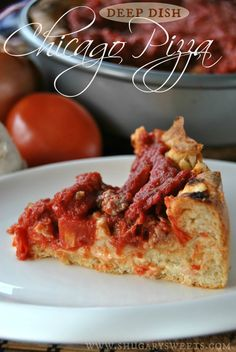 Deep Dish Chicago Style Pizza- make your own deep dish pizza at home! #chicago #deepdishpizza #copycat @Shugary Sweets