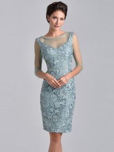 Sheath/Column Jewel 3/4 Sleeves Knee-Length Lace Mother of the Bride Dresses