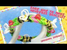 Loom bands, rainbow loom tutorial diy honeybee bracelet by CheerArt 2013. 彩虹橡筋手繩教學:蜜蜂手繩