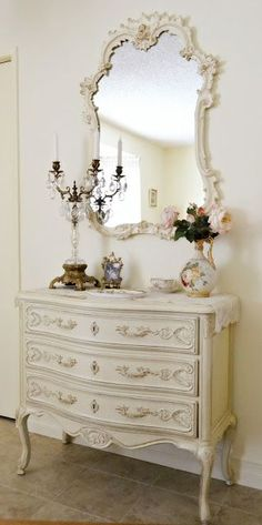 This Chest And Mirror Would Feel As Much At Home In The Entry As It Does In The Bedroom. Practical And Beautiful.