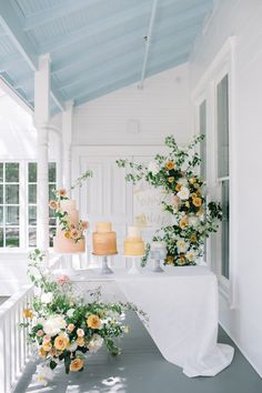 {Floral Design by Color Theory Collective Photo by Kate Zimmerman for The Scout Guide ATX peonies, g - Odelia Croshaw Blush Wedding Cakes, Wedding Cake Stands, Elegant Wedding Cakes, Green Wedding, Wedding Colors, Yellow Wedding Flowers, Purple Flowers, Spring Flowers, Spring Wedding