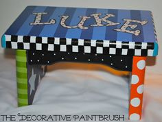 Painted Stool, Child's Foot Stool, Personalized Stool, Foot Stool, Boys Foot Stool, Stepping Stool, Nursery Furniture