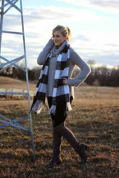 Winter Grey, Plaid Scarf. Grey Over the Knee Boots