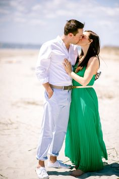 Sunny seaside engagement session: http://www.stylemepretty.com/2014/08/01/sunny-seaside-engagement-session-wiup/ | Photography: http://www.julielivingstonphotography.com/