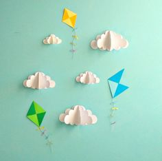 Kite Decals Paper Decals Wall Decals Wall Art 3D by goshandgolly