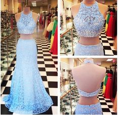 Charming 2 Piece Mermaid Prom Dress,Sexy Lace Two