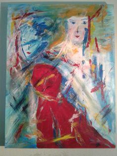 Lady in red     acryl op doek 60x80  2008 ddb