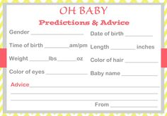 Get Free Baby prediction cards for baby stats and advice. Guess baby's time of birth, gender, hair color and more