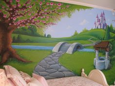 - Girls Wall Mural Path to the castle mural MorePath to the castle mural Princess Mural, Disney Princess Bedding, Princess Room, Princess Rapunzel, Royal Princess, Princess Castle, Playroom Mural, Kids Wall Murals, Bedroom Murals