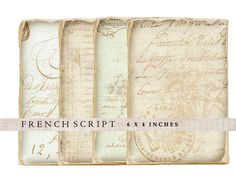 4 Shabby Chic French Script images. Each image measures approx 6 x 4 inches and are high quality 300 dpi. They will print on 8.5 x 11 inch