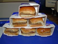 White Castle burgers!    ~ Love me some White Castle burgers!  Buy them by the sack!