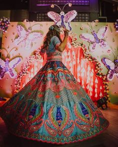 These Stunning Multicolored Lehengas Are Sure To Be Bookmarked For Your D-day. For more such bridal inspiration, stay tuned with shaadiwish. Summer Wedding Outfits, Bridal Outfits, Wedding Attire, Bridal Dresses, Mehendi Outfits, Indian Outfits, Indian Clothes, Lehenga Color Combinations, Latest Bridal Lehenga