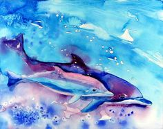 prophetic painting of mother and baby dolphins