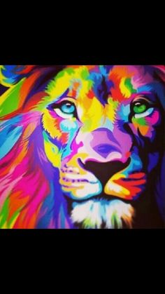 #beautiful #colourful #lion #painting #art