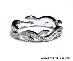Leaf Eternity WEDDING BAND no Milgrain - Flower - Diamond -  Vine - Right Hand  Ring - 14K white gold   - fL07 by BeautifulPetra on Etsy https://www.etsy.com/listing/232725002/leaf-eternity-wedding-band-no-milgrain