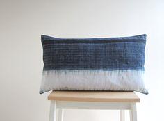 Indigo blue batik Hmong textile cushion cover by frompastopresent, £24.00