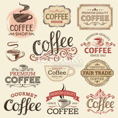 Hand Drawn Vintage Coffee Labels Royalty Free Stock Vector Art Illustration. Would be great for a wall in my kitchen.