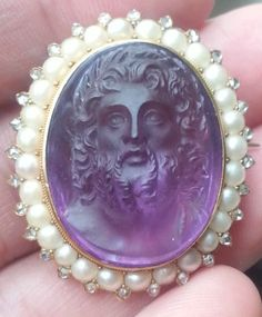 Perfect-Museum-Quality-Antique-Amethyst-Zeus-Cameo-w-18k-Pearl-Diamond-Brooch