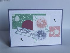 FB: Bastelkunst Blog: www.bastelkunst.blogspot.de  Stampin Up, Karte, Geburtstag, Glückwunsch, embossen, Eisfantasie, Designerpapier, Blumen, Sale-A-Bration, SAB, Strass