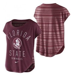 This tri-blend signal top features a Florida State Seminoles Seminole Head on the front, and a tribal burnout pattern on the back. The signal top is a loose fitting silhouette that is popular with the