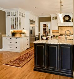 Stately Kitchen Addition, 75 square foot addition seemingly doubles the size and allows for more appropriate orientation., Dining room accou...