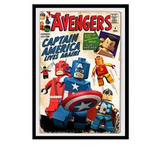 "Lego Avengers Print - Small 10.9""x 16.0"" on Etsy, $30.00"