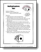 Free Multiplication War game directions and other multiplication resources
