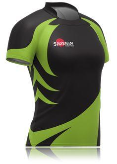 Ladies black/green jagged rugby jersey. A bespoke design by Samurai Sportswear. www.samurai-sports.com Jersey Designs, Sports Jersey Design, Shirt Designs, Football Shirts, Sports Shirts, Rugby Kit, Bike Shirts, Combat Knives, Bespoke Design