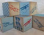 Retro Airplane Wood Blocks Boys Nursery Room Decor Baby Shower Decoration Personalized Name  Building Toys