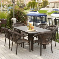 Malibu Patio Furniture ~ Outdoor Wicker Patio Dining Set with Stacking Patio Dining Chairs - This is a great product.This Great Deal Furniture Wicker Dining Chairs, Outdoor Dining Furniture, Outdoor Dining Set, Outdoor Decor, Outdoor Events, Rattan, Outdoor Fun, Garden Furniture, Outdoor Spaces