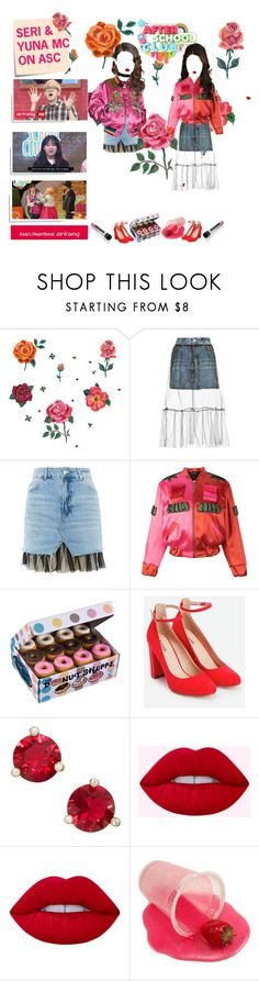 """""""«AFTER SCHOOL CLUB» SERI & YUNA MC"""" by cw-entertainment ❤ liked on Polyvore featuring DOMESTIC, Topshop, House of Holland, JustFab, Kate Spade, Lime Crime and Post-It"""