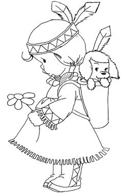 Embroidery Pattern of Precious Moments ~ Little Indian Girl ~ So Cute. Coloring Book Pages, Printable Coloring Pages, Coloring Sheets, Embroidery Patterns, Hand Embroidery, Precious Moments Coloring Pages, Digi Stamps, Copics, Coloring Pages For Kids
