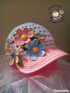 Ideas crochet baby hats with flowers yarns Crochet Flower Hat, Crochet Kids Hats, Crochet Beanie Pattern, Crochet Cap, Crochet Girls, Freeform Crochet, Crochet Baby Booties, Knitted Hats, Kids Knitting