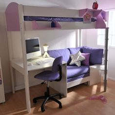 Dorm room design ideas for girl loft bed with couch, bunk bed with . Loft Bed With Couch, Bunk Bed With Desk, Low Loft Beds, Bunk Beds With Stairs, Loft Bed Desk, Bed Couch, Dorm Room Designs, Girl Bedroom Designs, Bedroom Ideas
