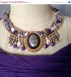 ON SALE Bead Embroidered Collar  Charoite and by bjswearableart, $66.00