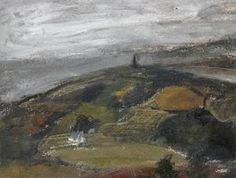 Peter Lanyon 'Cornish Landscape With Knill's Monument In The Distance'. Abstract Landscape, Landscape Paintings, Peter Wood, Patrick Heron, West Cornwall, John Piper, St Ives, Art Store, Artist Painting