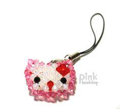 Swarovski crystal Fantasy hello kitty face doll by pinkbeadshop, $15.00